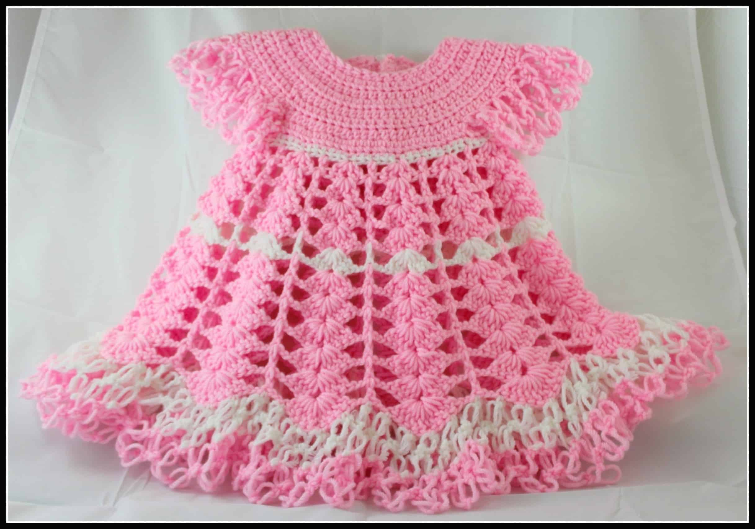 Crochet Shells And Lace Baby Dress Pdf Pattern All