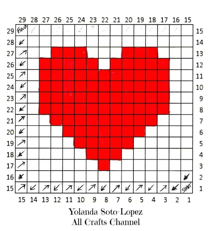 Crochet Heart - Easy C2C (corner to corner) Heart Square pattern - All ...
