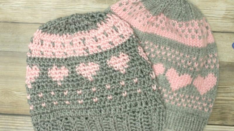 Knitting And Stitch Craft Show : Crochet a Knit Stitch and Fair Isle Hearts Hat - All Crafts Channel