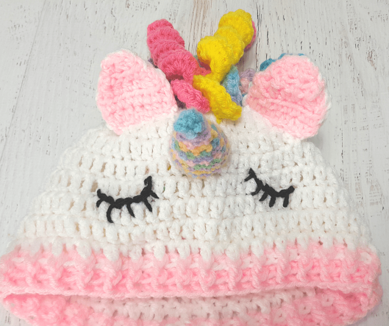 49e75f6dda47 Easy Crochet Unicorn Beanie   Hat - All Crafts Channel
